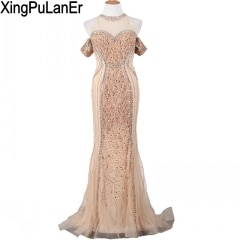 XingPuLanEr Mermaid High Neck Champagne Tulle Full Beaded Sequins Crystals Sexy See Through Off Shoulder Long Evening Dress Prom