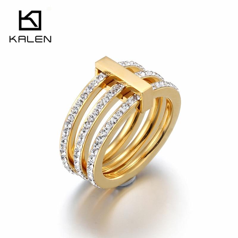 Kalen Bulgaria anillos de diamantes de imitación para las mujeres de acero inoxidable de Color oro tres anillo para dedo circular bandas de boda fiesta de compromiso