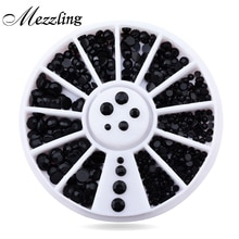 Nouveau mélange 3 tailles noir 3d ongles strass perles Art Flatback ongles conseils autocollant décoration roue
