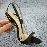 women stiletto thin iron high heel sandals sexy ankle strap open toe black glittering party bridals wedding lady shoes 3845 i8