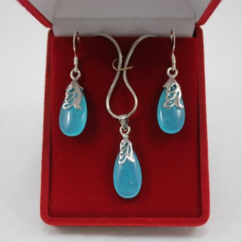 Venta caliente nueva señora noble azul jade pendiente en forma de gota y pendientes conjunto de joyería para aniversario y fiesta