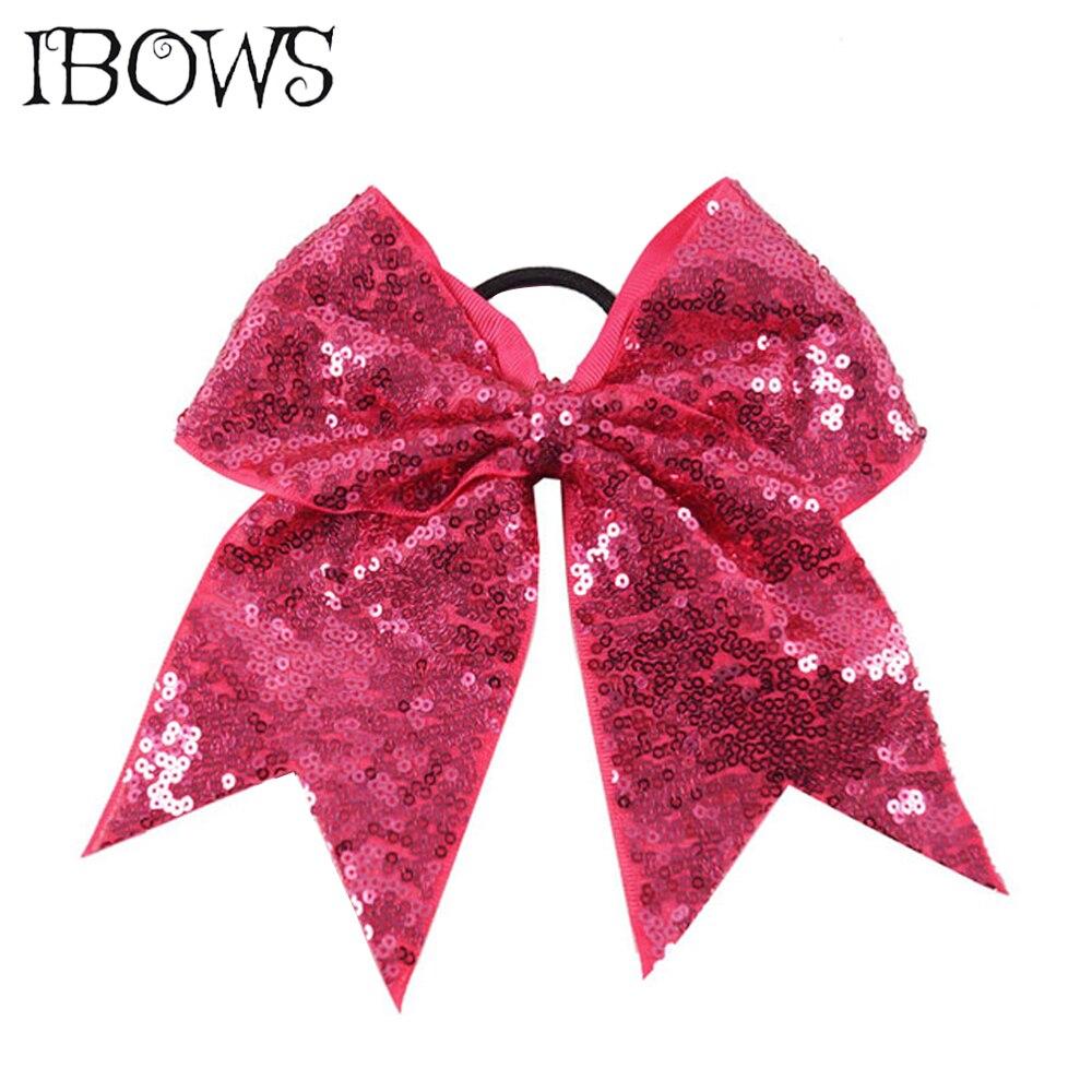 26 cores moda lantejoulas cheer arco arcos brilhantes com laços de cabelo elástico cintas sparkly headwear para meninas competição softball