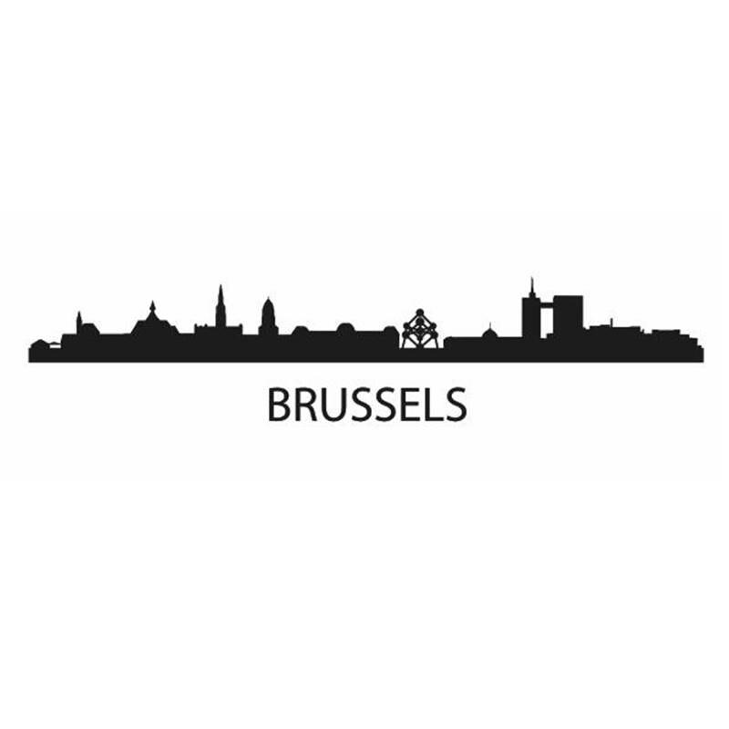 Pegatina de pared de horizonte de Brussels, pegatinas de vinilo, decoración de arte Mural para sala de estar, decoración del hogar, pegatina de pared de horizonte de hito
