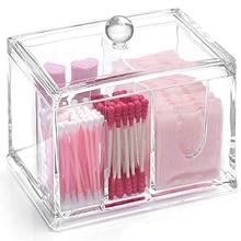 SZanbana 4 Abschnitte Transparent Acryl Make-Up Organizer Q tipps Baumwolle Tupfer Halter Reinigung Pad Halter & Tupfer Lagerung Kanister