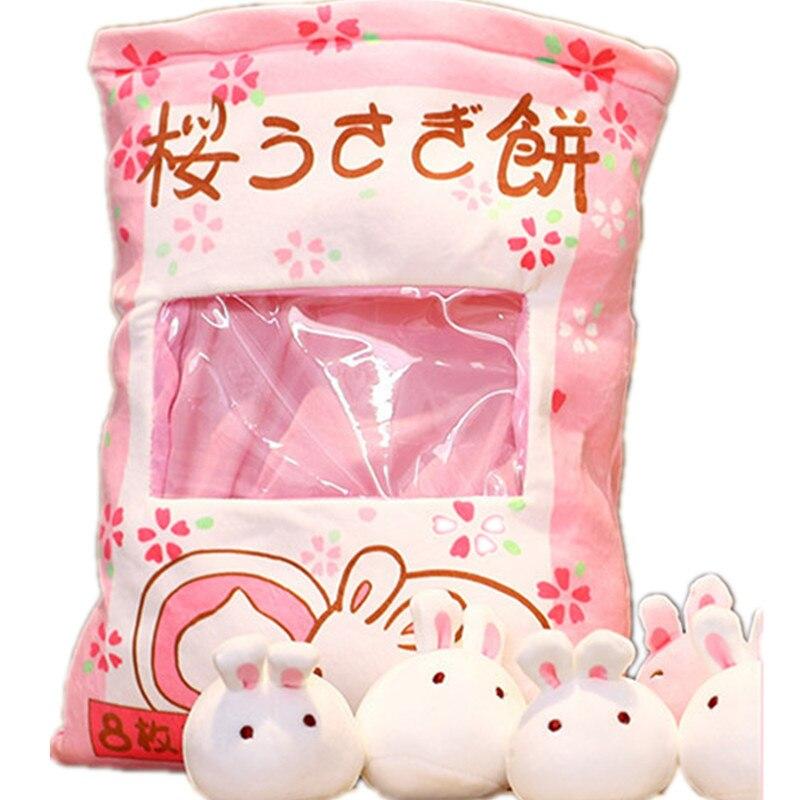 1pcs 40*50cm Cute Animal Rabbit Pudding Simulation Snack Pillow Kawaii Pink Sakura Rabbit Plush Creative Toys For Children Kids
