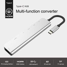 7-en-1 Type C Hub Multiport adaptateur HDMI Port Ethernet 2 Ports USB 3.0 avec 60WPower livraison pour USB C Hub livraison directe