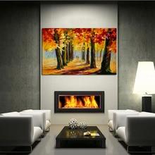 Gratis verzending Abstract Herfst Bos Landschap Mes Olieverfschilderij View Foto Home Decor Nice Gift