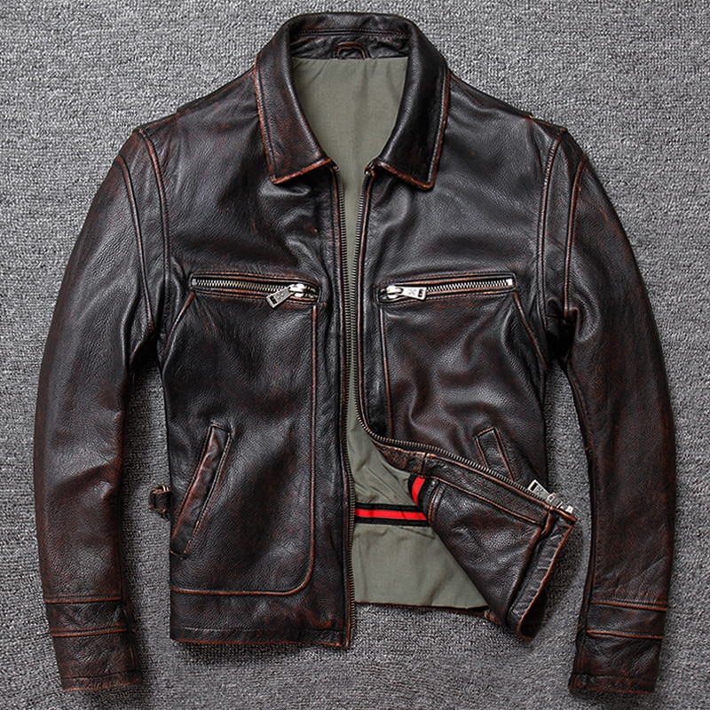 Free shipping.sales gift Brand new men cowhide coat.winter warm men's genuine Leather jacket.vintage