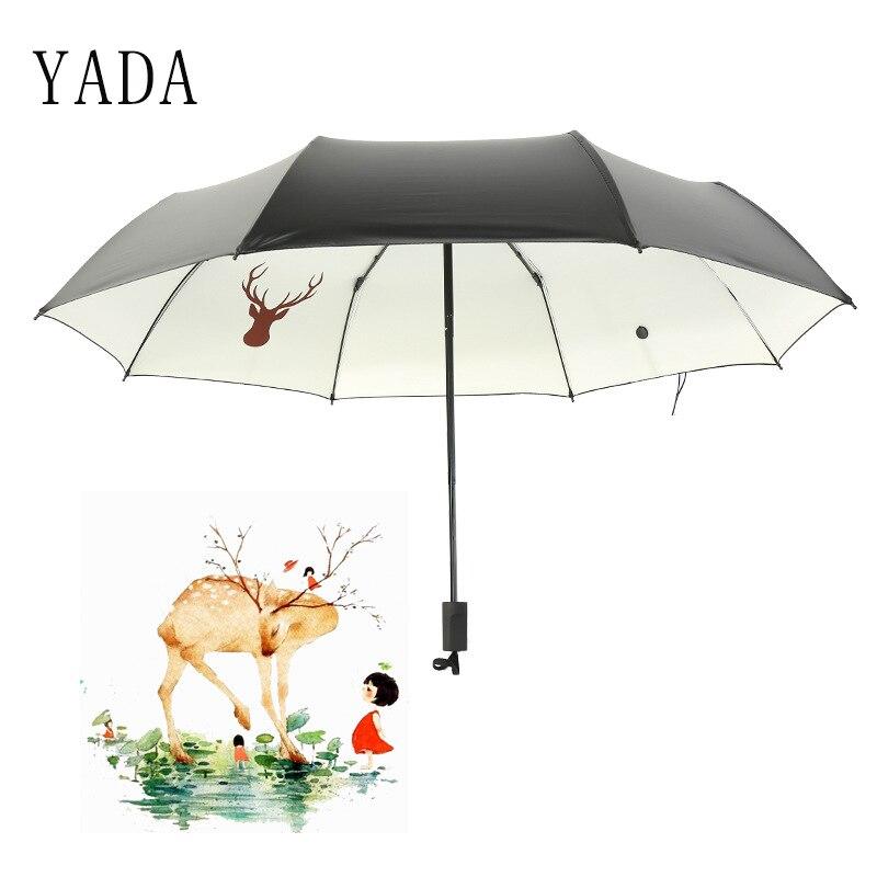 Dobrável para as Mulheres Guarda-chuva à Prova de Vento Yada Personalizado Floresta Alce Fulvo Guarda-chuva uv Personalizados Encantos Amizade Ys664