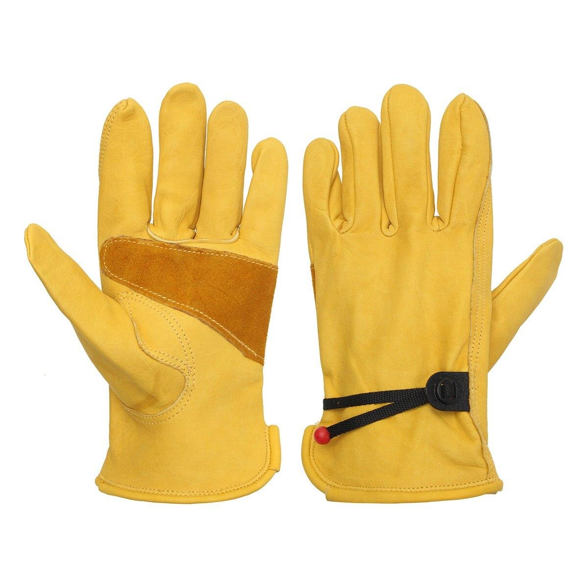 1 par de guantes Vintage de cuero amarillo para motocicleta, guantes antideslizantes para montar en bicicleta, trabajo, caza, dedos completos, S M L XL Universal