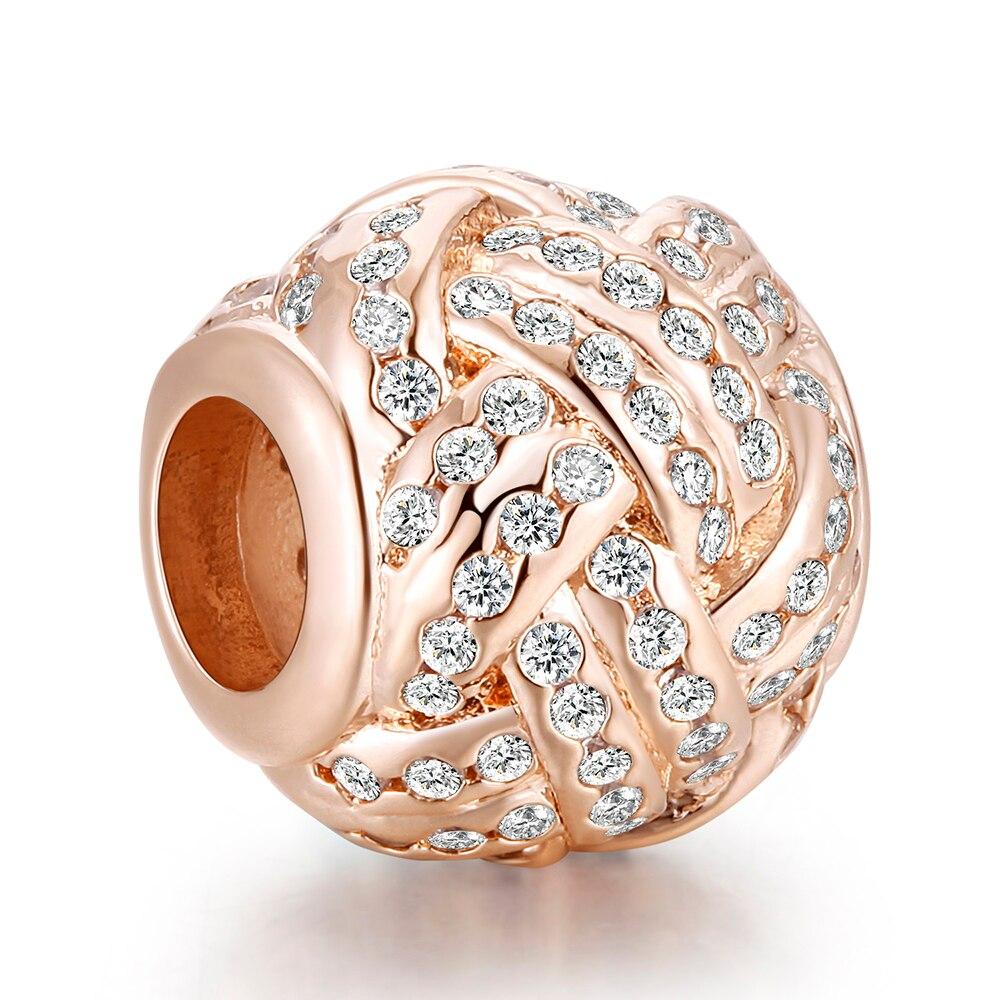 Joyería de mujer DIY, nudo de amor brillante, cuentas oro rosa para la fabricación de joyas, pulseras de plata esterlina 925