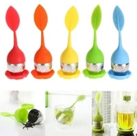 500pclot leaf silicone tea infuser withe food grade make tea bag filter creative 304 stainless steel tea strainers sn2369