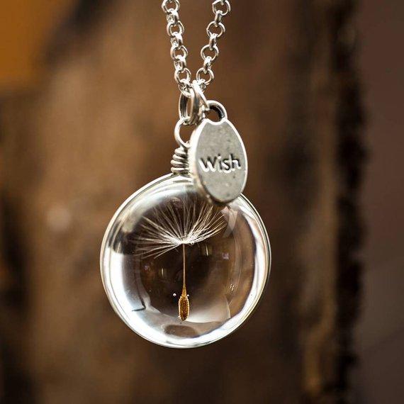 2 uds collar de bola de vidrio semilla natural de diente de león en vidrio largo collar haz un deseo de cristal cuentas orbe joyería