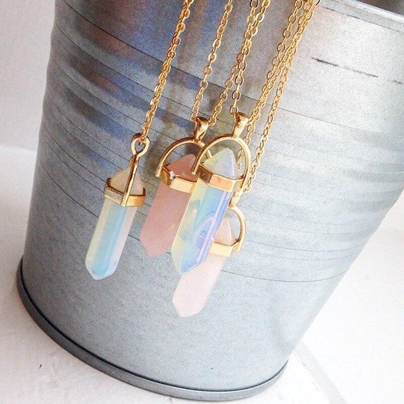 Moda hexagonal coluna de quartzo colares pingentes moda pedra natural bala rosa cristal pingente colar para jóias femininas