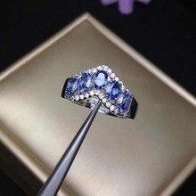 925 prata esterlina anel de safira escuro para presente festa de casamento anel de pedra de nascimento de setembro