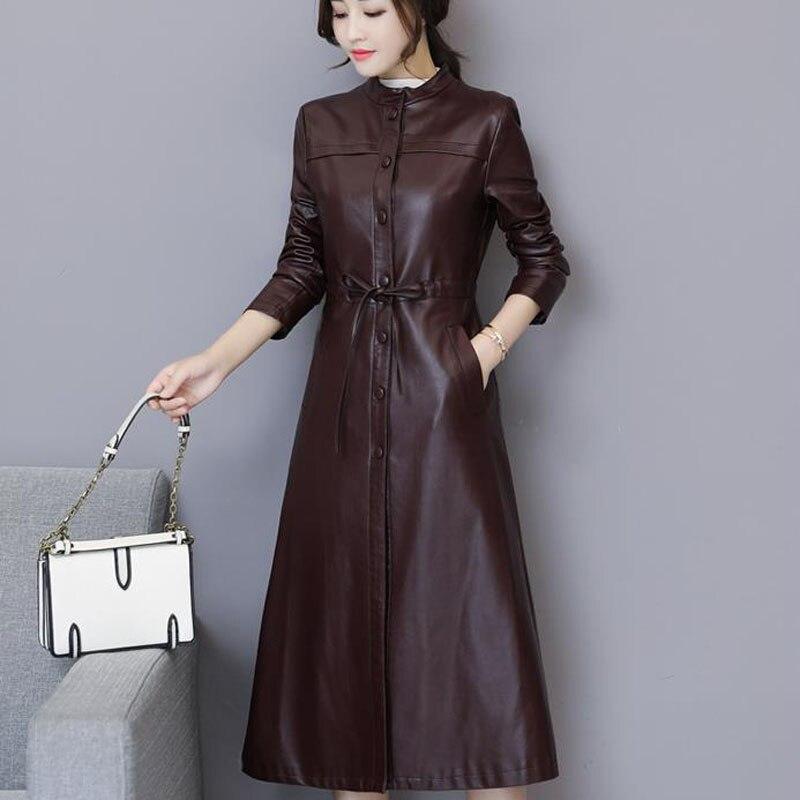 Women Leather Trench Autumn 2021 New Arrival Winter Female Sheepskin Coat split Long Outerwear Button Belt Korean Style