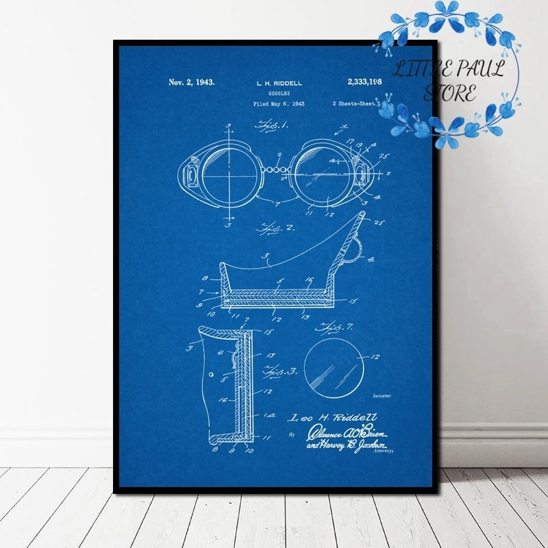 Gafas Retro patente Vintage Blueprint arte lienzo póster cuadro de pared para sala de estar sin marco