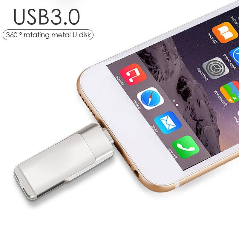 3 in 1 USB 3.0 Pen Drive OTG Lightning 64GB USB Flash Drive 32GB Pendrive 16GB For iPhone 360 Degree Rotating U Stick Memory