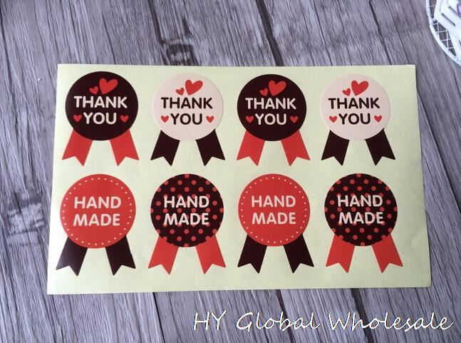 "80pcs/lot medal shape kraft paper sticker""HANDMADE+THANK YOU"" Sealing sticker Vintage DIY Gifts posted Baking Decoration"