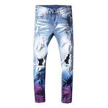 Sokotoo homme cocotier imprimé couleur déchiré jeans Slim fit trous en détresse stretch denim pantalon pantalon