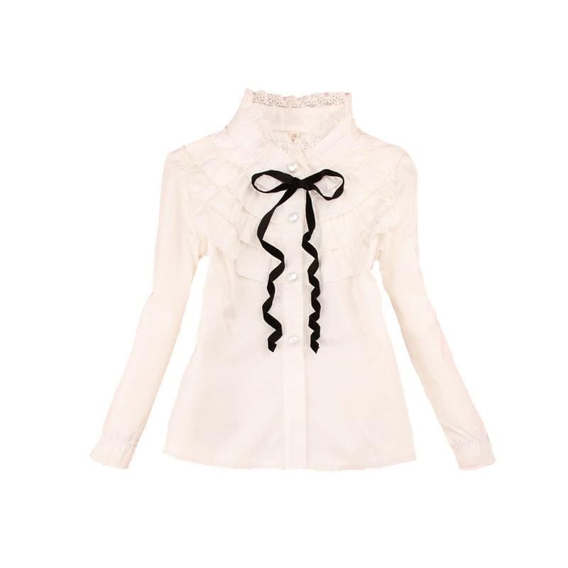 Adolescente Crianças Blusas Brancas Para Uniformes Escolares Meninas Completo Manga Gola de Renda Camisas para Os Alunos Tops 18 M 2 3 5 7 9 11 12 13 14A
