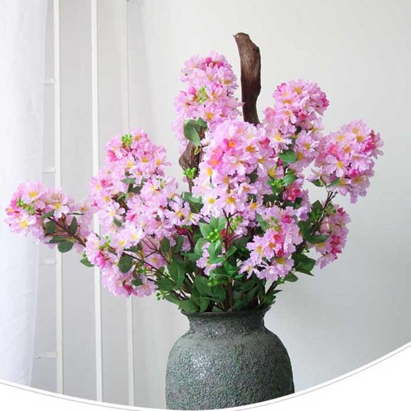 97cm flores artificiales Crape Myrtle Flor de seda Artificial ramas para decorar Artificial árbol de mimbre para la casa y de la fiesta de la boda