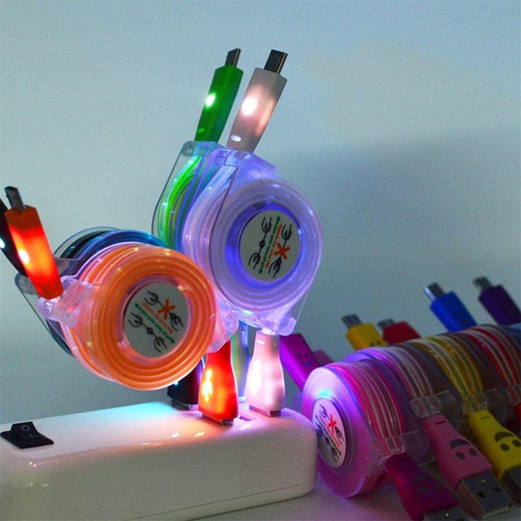 1 Uds. Luz LED retráctil Cable Micro USB reemplazo luminoso para Puerto Android Cable de datos cargador de teléfono