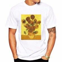 Edvarda muncha słynny Skrik krzyk mężczyźni tshirt van Gogh słoneczniki gwiaździsta noc koszulka homme biały na co dzień t koszula