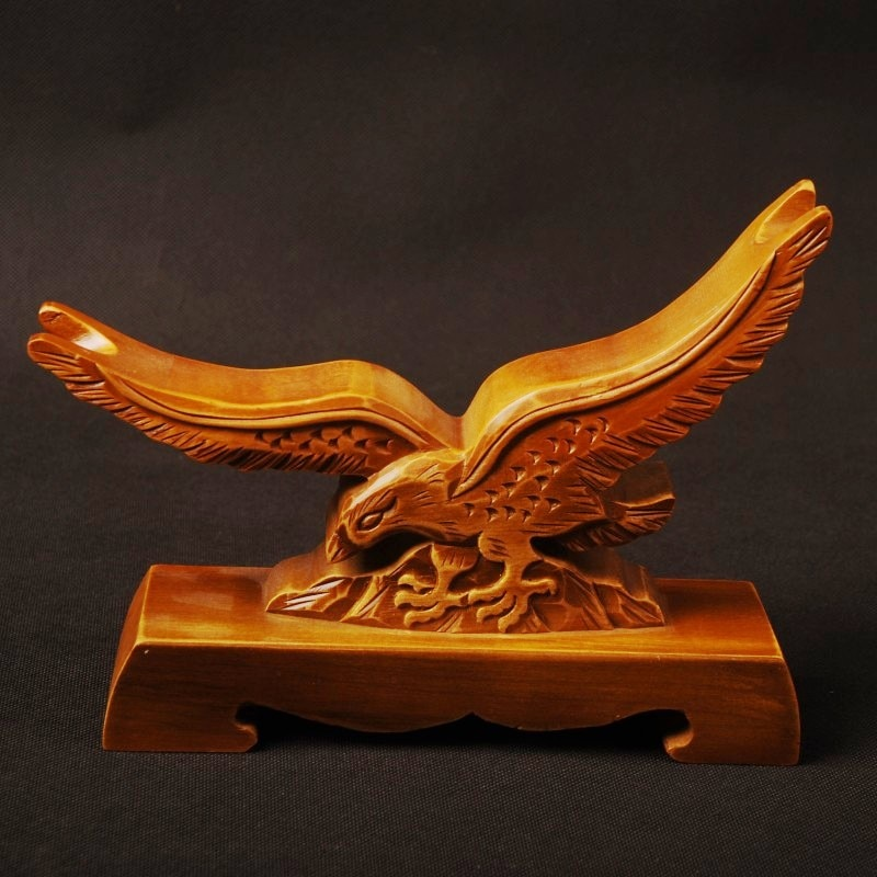 Delicate Wood Craft Hawk Pattern Carved Wood Stand Holder Rack Display Japanese Samurai Sword Exquisite Collection SDJ07B