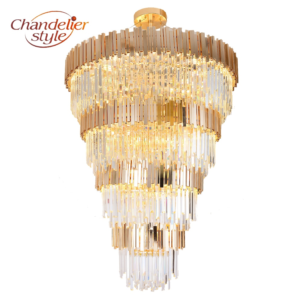 Modern Luxury Golden Chandeliers Hanging Light Crystal Chandelier Lighting Fixture for Home Hotel Restaurant KTV Decor  - buy with discount