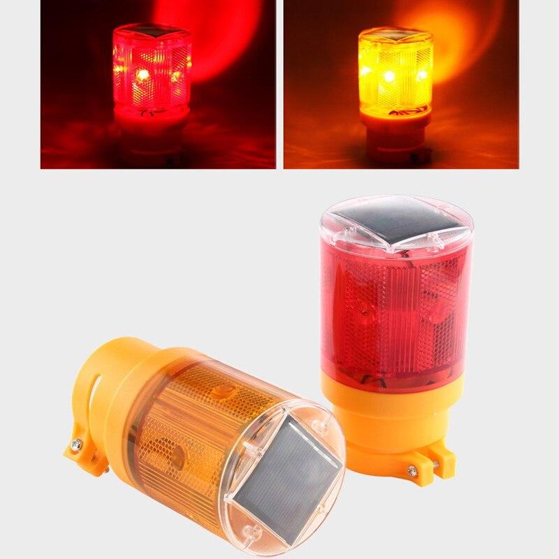 6Leds luz de advertencia Solar de alta calidad bombilla intermitente luz de tráfico led para sitio de construcción iluminación de emergencia de carretera de puerto