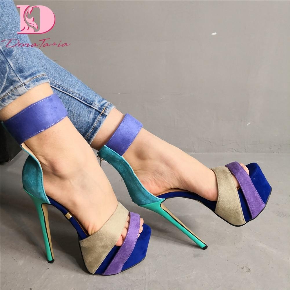 DoraTasia مثير الزفاف حجم كبير 35-47 الصنادل الطرف أحذية النساء ملهى ليلي منصة سميكة رقيقة عالية الكعب أحذية صناديل للنساء