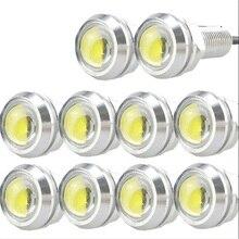 10PC 3W LED DRL typu Eagle Eye światła światło przeciwmgłowe i do jazdy dziennej kamera cofania lampka sygnalizacyjna srebrna muszelka Auto lampa przeciwmgielna samochodu 18mm