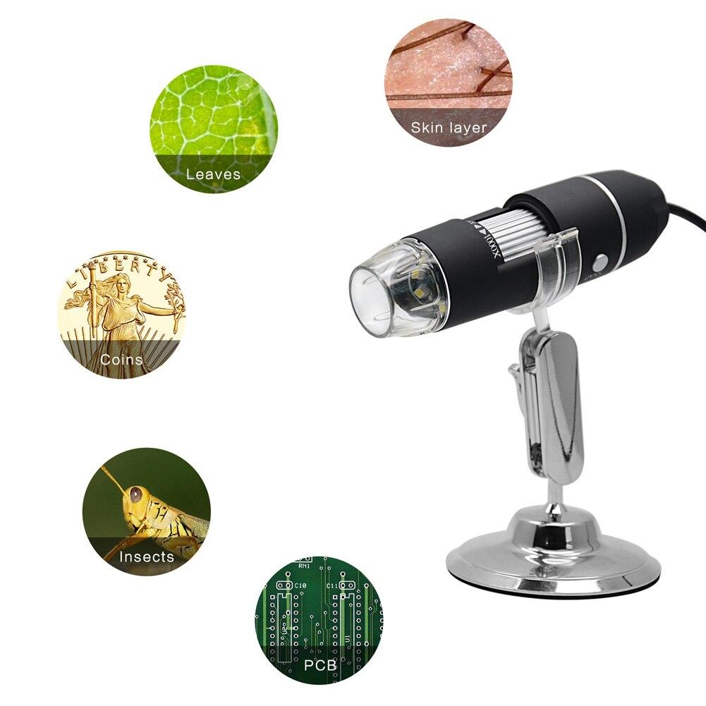 Microscopio Digital USB 1000X magnificación 8 LED USB endoscopio electrónico lupa CLH @ 8