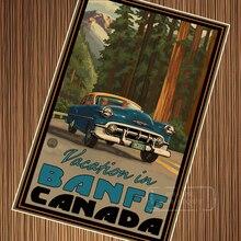 Affiche de voyage rétro en papier diy   Parc National Banff, Vintage voiture Canada, affiche de peinture en toile, affiches murales pour décoration de maison, cadeau