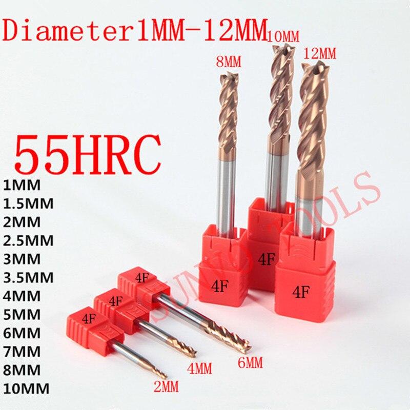 Флейты HRC55, 1 мм, 2 мм, 3 мм, 4 мм, 5 мм, 6 мм, 8 мм, 10 мм, 2/4, фрезы из вольфрама, твердосплавные фрезы с плоскими концами, Спиральные Фрезы с ЧПУ