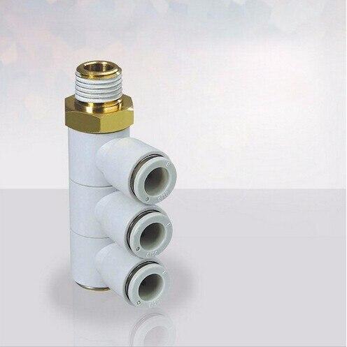 Tamaño del tubo 10mm-3/8 PT estilo de rosca ajuste de aire Triple Universal macho codo KQ2VT