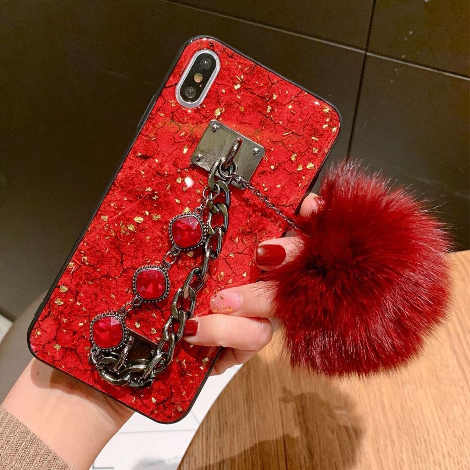 Cajas del teléfono para iPhone 11 Pro Max XR XS Max X 8 7 6S 6 Plus SE caso De 2020 brillo epoxi Fox Bola de Pelo cubierta para iPhone 11 Pro