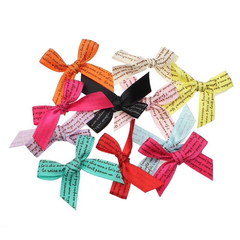 50 sztuk satynowa wstążka kokardy w kwiaty wstążki dla rzemiosła ryps muszka Scrapbooking dekoracje ślubne Fit spinki do włosów Making Diy