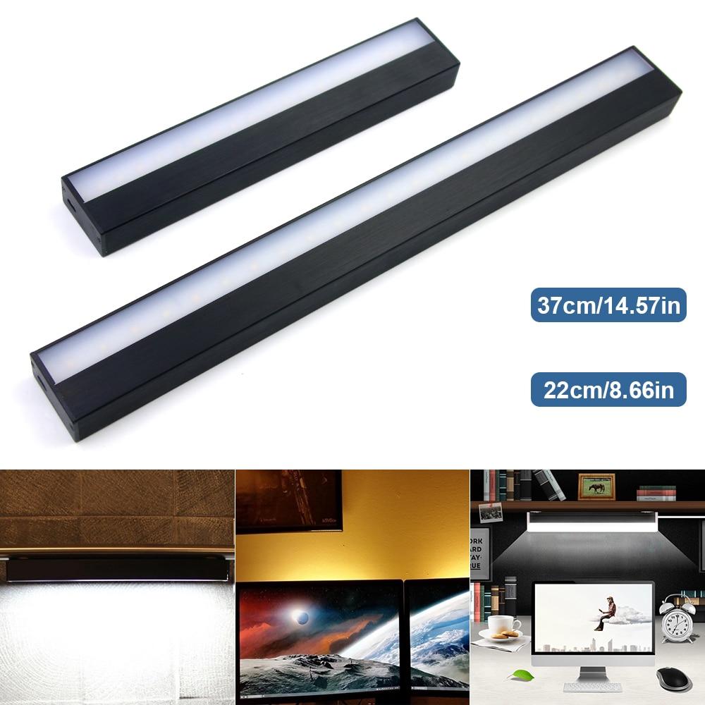 Interruptor táctil de carga USB, luces de espejo de luz nocturna regulables de tiras largas, lámpara de pared de aluminio para armario, mesita de noche, baño y cocina