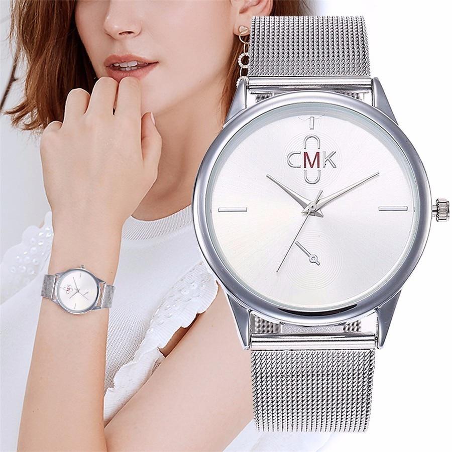 Часы CMK, ультратонкие Стальные наручные часы с ремешком-сеткой, модные повседневные женские часы под платье, женские наручные часы