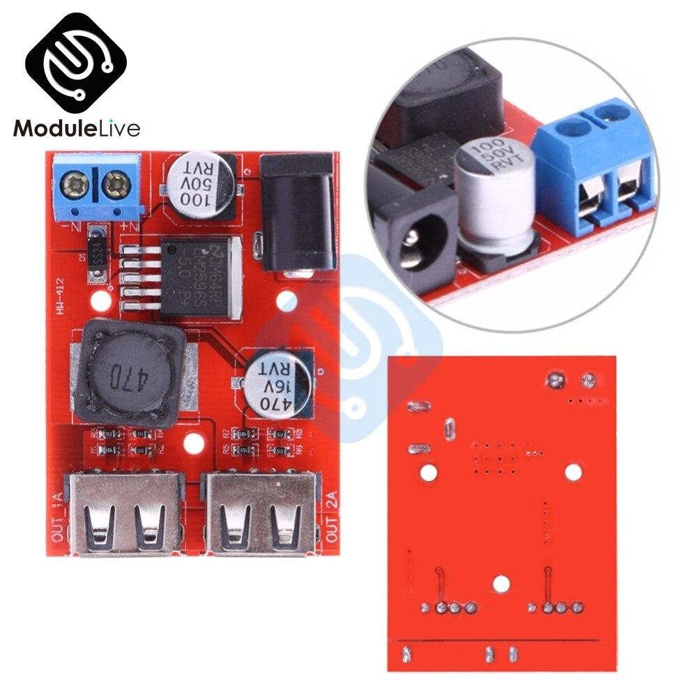 LM2596S LM2596 Dual USB DC-DC 9V 12V 24V 36V a 5V 3A convertidor buck de reducción Placa de módulo cargador de coche fuente de alimentación Solar