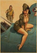 Affiche Antique Sexy de dame   Avion vintage Kraft, affiche HD Bar/Pub/café, image murale art, affiches art mural décor 42x30cm URC 3