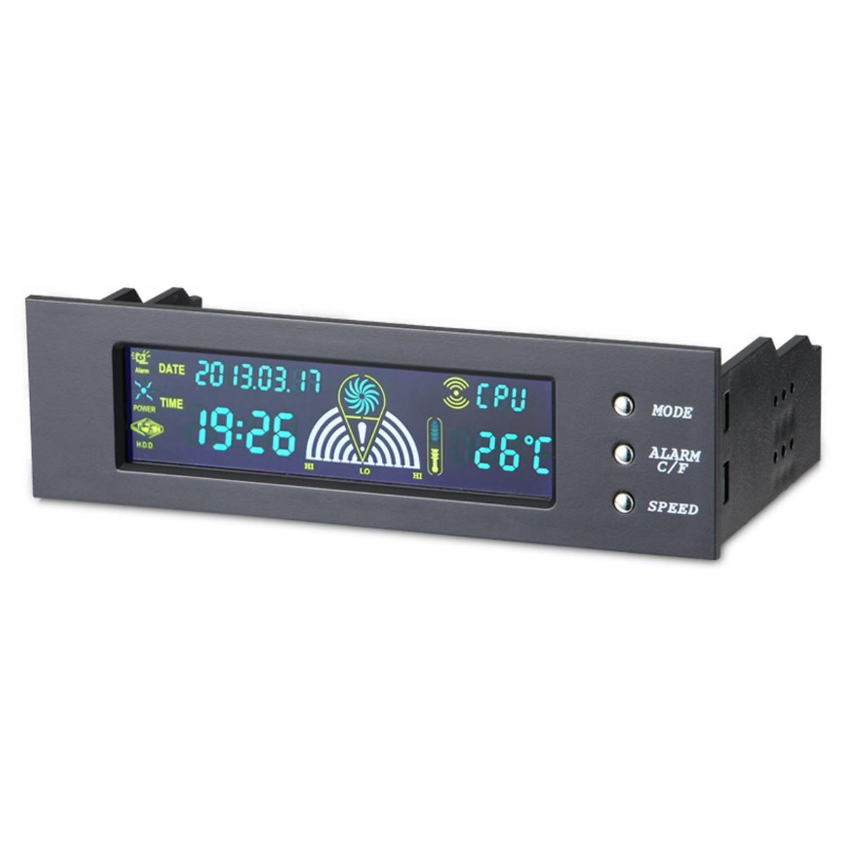 5,25 inch PC Computer Fan Controller Vorne LCD Panel 3 Fan Speed Controller CPU Temperatur Sensor LCD Digital Display für PC