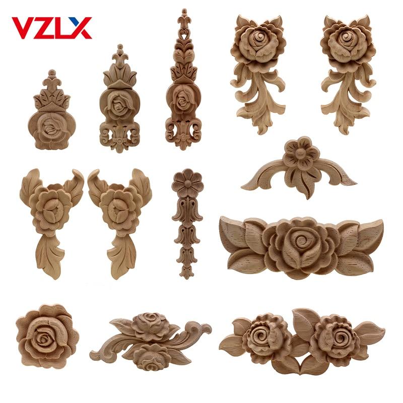 VZLX новый цветок резьба по дереву натуральное дерево аппликации для мебели шкаф неокрашенные деревянные молдинги Наклейка декоративная фигурка