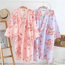 Peignoirs en coton dété Robes en coton pour femmes Robes Kimono en coton Robe Spa florale femmes pyjamas Kimono japonais Yukata