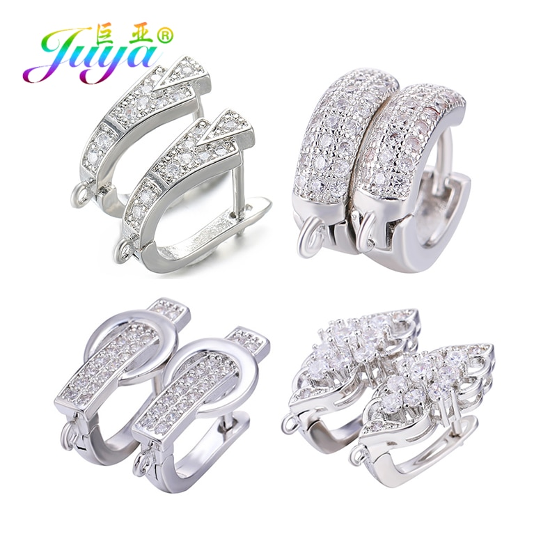 Juya DIY Fine Jewelry Material Supplies Handmade Earwire Gold/Silver Color Earring Hooks Accessories