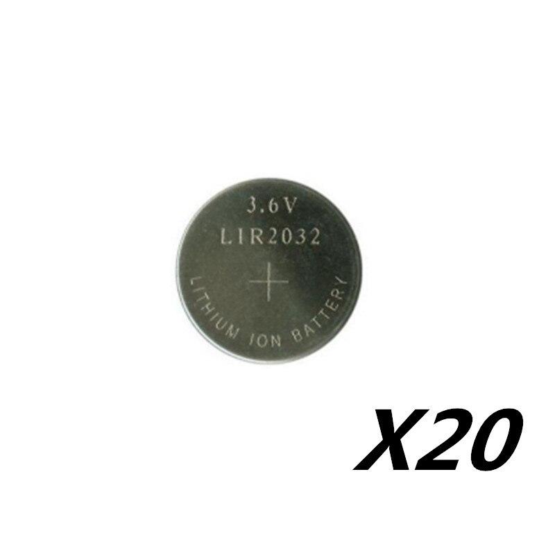 20PCS 3,6 V LIR2032 lir 2032 lithium-ionen akku 40mah Li-Ion taste münze zell ersetzen für CR2032 CR 2032