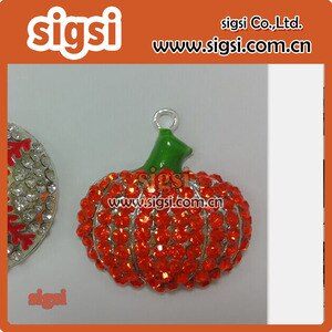 10 pcs hot sale Halloween pumpkin rhinestone pendant