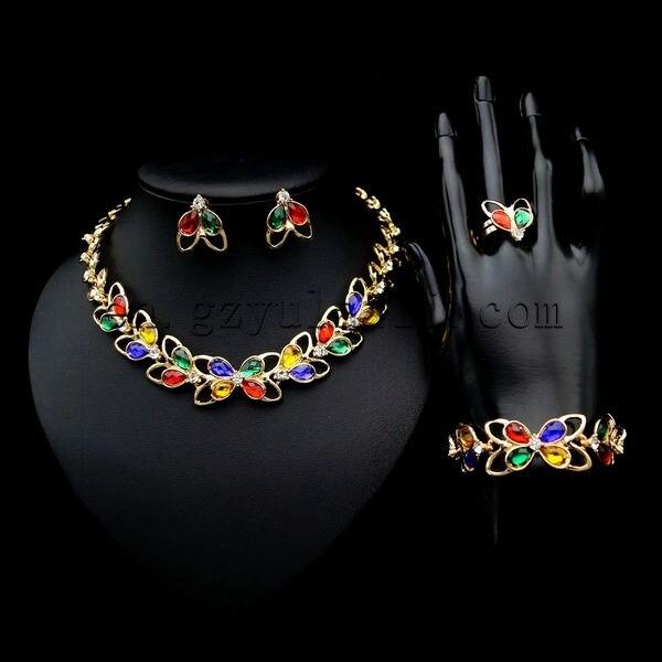 Yulaili powieść projekt kolorowe mody afryki złoty Cubic cyrkon panie kostium z krystalicznie cztery zestawy biżuterii
